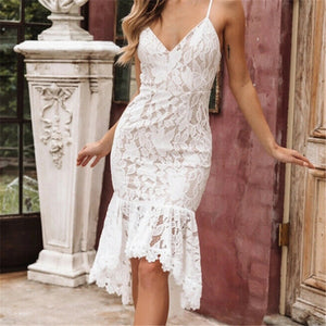 Summer Lace Dress Women Vintage Elegant Dress Sleeveless Irregular Ruffles Floral Lace White Dress Women Bodycon Party Dresses