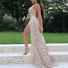 Load image into Gallery viewer, Women vintage dress Apparel Sexy sequin tassel beach party Club Wear Maxi long dresses sexy Gold sequined Robe