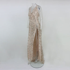 Women vintage dress Apparel Sexy sequin tassel beach party Club Wear Maxi long dresses sexy Gold sequined Robe