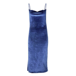 Velvet Bandage Backless Dress Sexy Spaghetti Strap Midi Dress Split Party Club Straight Ladies Dresses Women Casual