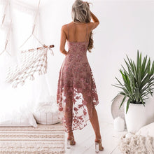 Load image into Gallery viewer, Women Sexy Lace Irregular Mermaid Elegant Club Dresses Ladies Spaghetti Strap Flower Printed Dress Girl Holiday Beach Boho Dress