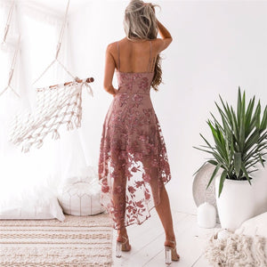 Women Sexy Lace Irregular Mermaid Elegant Club Dresses Ladies Spaghetti Strap Flower Printed Dress Girl Holiday Beach Boho Dress