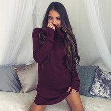 Load image into Gallery viewer, Women Turtleneck Knitted Sweaters Spring Autumn Long Sleeve Loose Elastic Pullover Long Sweater
