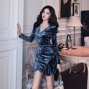 Women's Clothing Spring Autumn chic Fashion New elegant Mini Party dress V-neck Package Hip Velvet Long sleeve Trumpet Dresses