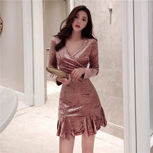 Load image into Gallery viewer, Women's Clothing Spring Autumn chic Fashion New elegant Mini Party dress V-neck Package Hip Velvet Long sleeve Trumpet Dresses