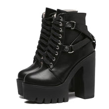 Load image into Gallery viewer, Fashion Black Boots Women Heel Spring Autumn Lace-up Soft Leather Platform Shoes Woman Party Ankle Boots High Heels