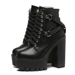 Fashion Black Boots Women Heel Spring Autumn Lace-up Soft Leather Platform Shoes Woman Party Ankle Boots High Heels