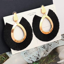 Load image into Gallery viewer, Vintage Statement Drop Earrings  for Women Black Red  Yellow Big Dangle Fringe Earrings 2019 Jewelry
