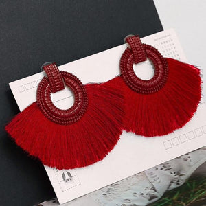 Vintage Statement Drop Earrings  for Women Black Red  Yellow Big Dangle Fringe Earrings 2019 Jewelry
