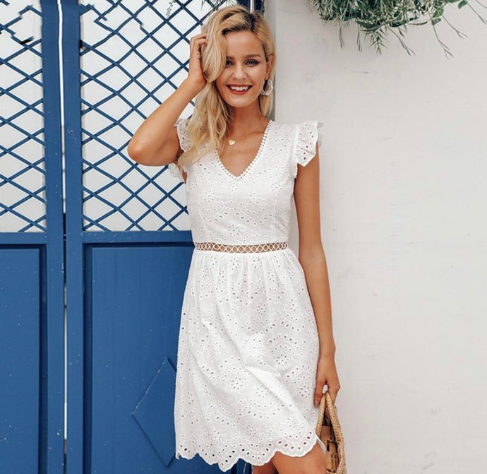 Sexy white women summer dress Backless v neck ruffle cotton lace dress Vintage holiday beach short dress