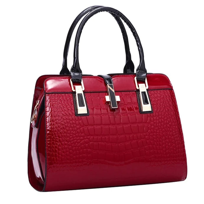 Crocodile Patent Leather Luxury Handbags for Women