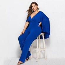 Load image into Gallery viewer, Plus Size 3XL Women Fashion Jumpsuit Plunge V Neck Batwing Sleeve Cape Back Long Pants Autumn Casual Female Playsuit Rompers