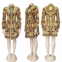 Load image into Gallery viewer, Sexy paisley vintage print gold dress Women v neck short blouse dress autumn elegant party club dress large size robe
