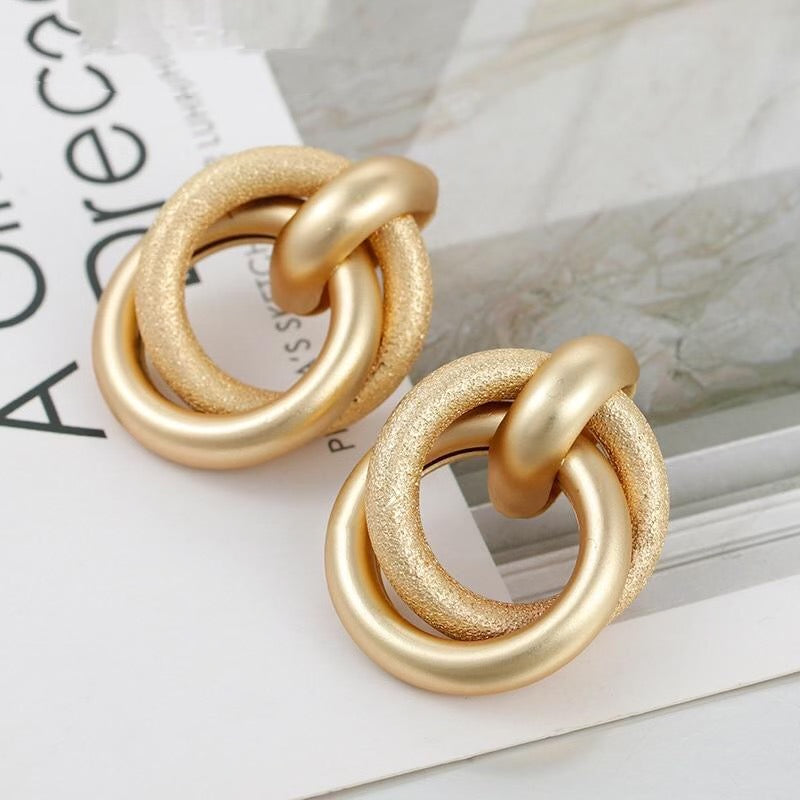 Simple Big Alloy Dumb Gold Drop Earrings For Women Female Geometric Trendy Earrings Vintage Jewelry Decoration