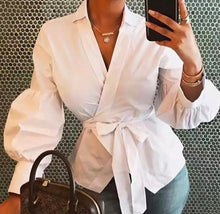 Load image into Gallery viewer, Fall Long Sleeve Fashion Women V Neck Tops And Blouses blusas mujer de moda Bandage Women Tops Streetwear Outfits Clothes