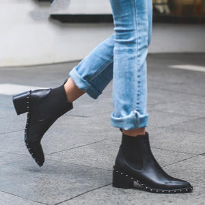 Latest Rivet Chelsea Boot Women Ankle Boots Winter Booties Genuine Leather Women's High Square Heel Shoes Female Footwear
