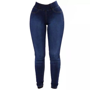 Plus Size Fashion Slim Fit Stretchy Skinny Jeans Casual Solid Denim Blue Pencil Pants Ladies Trousers 3XL Pants