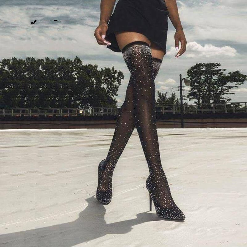 Fashion Runway Crystal Stretch Fabric Sock Boots Pointy Toe Over-the-Knee Heel Thigh High Pointed Toe Woman Boot