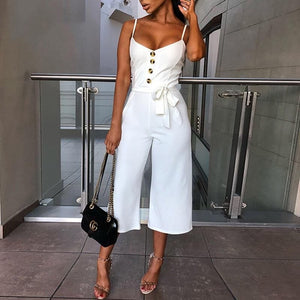 GlamQ Backless Sexy Rompers Womens Jumpsuit Belt Elegant Bandage Plus Size Black White Jumpsuit Overalls Streetwear