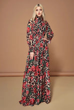 Load image into Gallery viewer, Fashion Runway Long Sleeve Maxi Dresses Women's Elegant Party Rose Floral Leopard Print Long Dress Holiday Dress