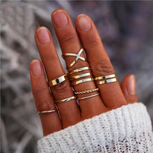 Load image into Gallery viewer, 8 Pcs/Set Simple Design Round Gold Color Rings Set For Women Handmade Geometry Finger Ring Set Female Jewelry Gifts