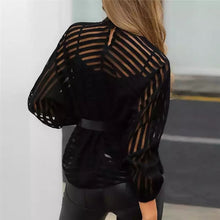 Load image into Gallery viewer, Women Mesh Net Blouse Sheer Long Sleeve Ladies Shirt Black Front Hollow Sexy Tops Womens Clothing Summer Female Blouses hot