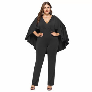 Plus Size 3XL Women Fashion Jumpsuit Plunge V Neck Batwing Sleeve Cape Back Long Pants Autumn Casual Female Playsuit Rompers
