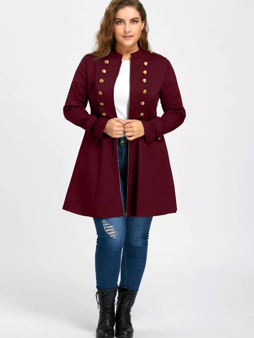 Longline Coat Double Breasted Flare Windbreaker Jacket Coat Plus Size XL-5XL