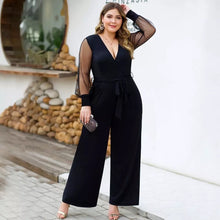 Load image into Gallery viewer, Women's Romper Jumpsuit Plus Size Casual Mesh Stitching Long Sleeve Belt Wide Leg Jumpsuit XL-4XL