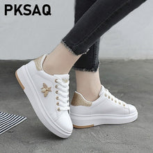 Load image into Gallery viewer, Women Casual Shoes New Women Sneakers Fashion Breathable PU Leather Platform White Women Shoes Soft Footwears Rhinestone