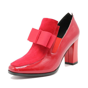 size 33-43 Women High Heels Boots Genuine Leather Bowknot Dropshipping Ankle Boots Spring Autumn Shoes Women Boots