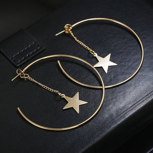 New Fashion Round Dangle Drop Korean Earrings For Women Geometric Round Heart Gold Earring Wedding Jewelry