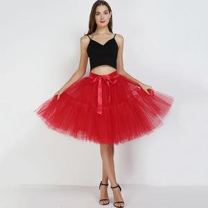 5 Layers 60cm Tutu Tulle Skirt Vintage Midi Pleated Skirts Womens Lolita Bridesmaid Wedding faldas Mujer saias jupe