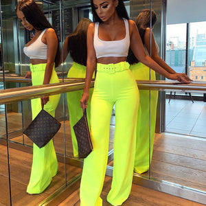 Neon Wide Leg Pants Summer Women High Waist Streetwear Festival Trousers Loose Black Clothes Office Ladies Belt