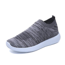 Load image into Gallery viewer, Plus size breathable air mesh sneakers women spring summer slip on platform knitting flats soft walking shoes woman