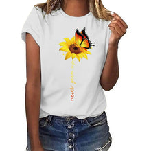 Load image into Gallery viewer, Aesthetic Cotton t shirt women Harajuku Graphic Tees shirt femme Sun Flower butterfly white Women's T-shirt Never give up Tshirt