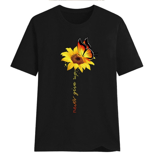 Aesthetic Cotton t shirt women Harajuku Graphic Tees shirt femme Sun Flower butterfly white Women's T-shirt Never give up Tshirt