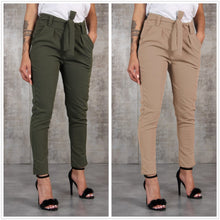 Load image into Gallery viewer, Slim Pencil Trousers Women Spring Autumn Long Pants Khaki Green Black Casual Pants Belt Fashion Office Trousers