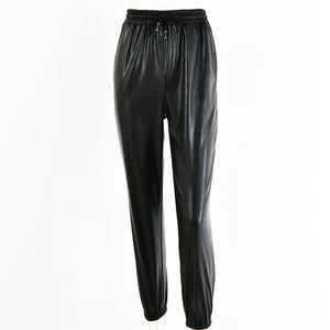 New PU Leather Women Harem Pants Casual High Waist Elastic Faux Leather Trousers For Women Autumn Pants Streetwear