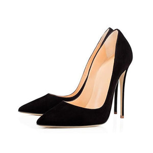 Black Red Heel Shoes Women High Heels Faux Suede Stiletto Sexy Heels Pumps Pointed Toe Wedding Shoes For Woman