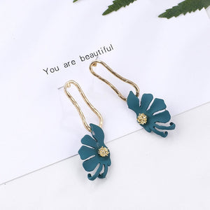 Korean Geometric Pendant Earrings Multiple Drop Earrings Unique Design Flowers Resin Acrylic Shell Dangle Earring