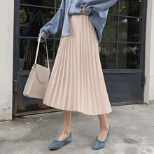 Load image into Gallery viewer, Elegant Solid Midi Pleated Skirt Women Autumn Winter Ladies Korean High Waist A-line School Long Skirt Female