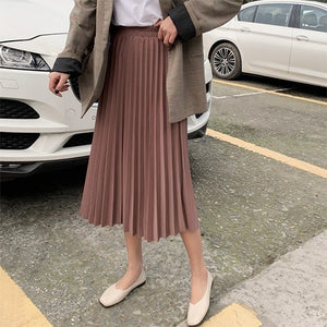 Elegant Solid Midi Pleated Skirt Women Autumn Winter Ladies Korean High Waist A-line School Long Skirt Female