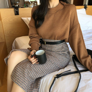 Plaid vents long skirts with belt New 2018 Autumn And Winter High Waisted Female Skirt