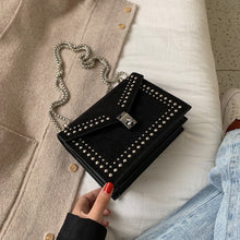 Load image into Gallery viewer, Scrub Leather Small Shoulder Messenger Bags For Women Chain Rivet Lock Crossbody Bag Female Travel Mini Bags