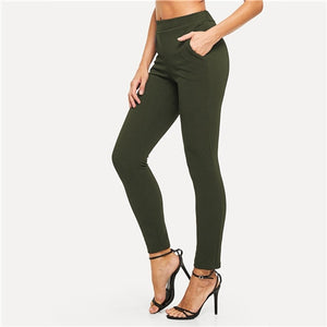 Elastic Waist Mid Waist Skinny Trousers Autumn Office Lady Elegant Slim Fit Vertical Women Pencil Pants