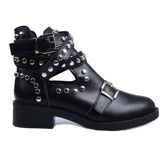 Retro Rivet Motorcycle Boots Women's Leather Ankle Boots Gothic Autumn Buckle Martin Boot Low Heel Short Boot Cowboy Shoes