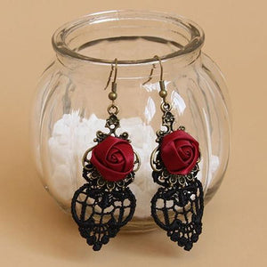 Vintage Gothic Statement Earrings Halloween Black Lace Red Dangle Earrings pendientes Fashion Vampire Flowers Earring серьги