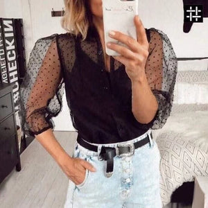 See-through Women Mesh Sheer Blouse Top Shirts Transparent Lace Puff Sleeve Tops Woman Summer Casual Blouses Female Cover Up