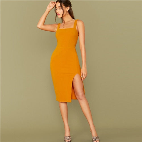 Bright Yellow Solid Split Hem Sexy Thick Strap Dress Without Belt Women  Autumn Dress